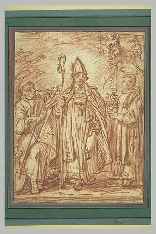 Un évêque entouré de deux saints