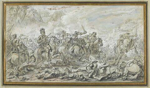 Combat de cavaliers dans un paysage montagneux ; à gauche un temple...