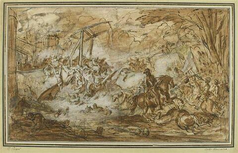 Affrontement de cavaliers sur un pont-levis devant les murailles d'une ville