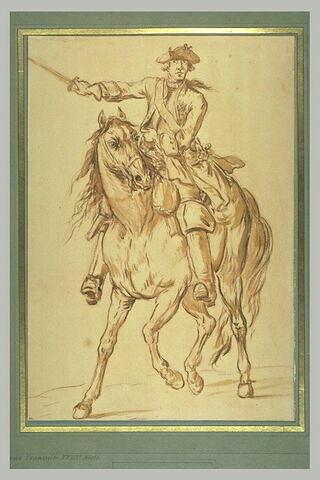 Officier à cheval, tenant de la main droite une épée tendue