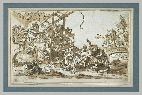 Cavaliers tombant dans l'eau après l'effrondrement d'un pont-levis