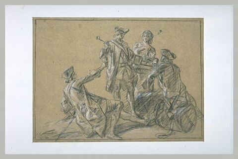 Une cantinière versant à boire à trois soldats de la garde française...
