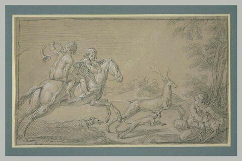 Deux amours nus sur un cheval poursuivant un cerf et sonnant de la trompe