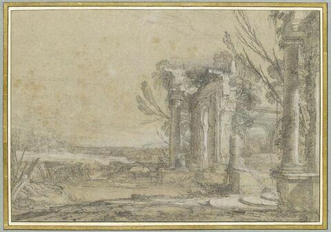 Paysage avec ruines d'un portique circulaire