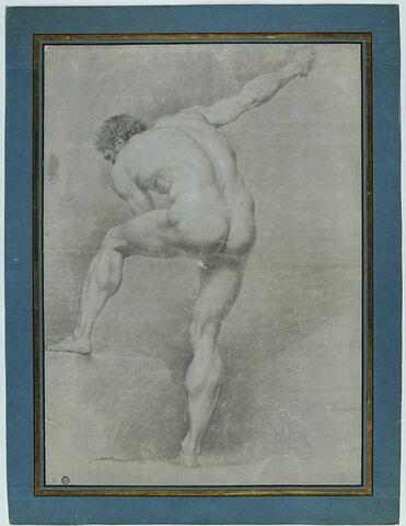 Figure d'académie : homme nu, vu de dos, le torse incliné vers la gauche...