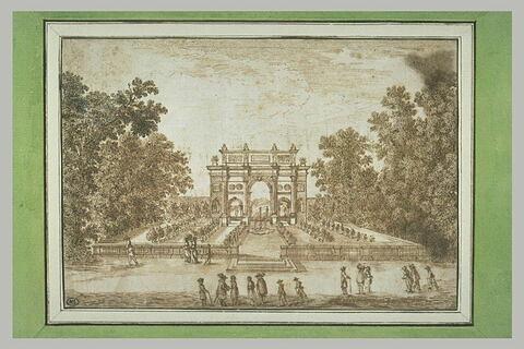 Vue d'un jardin, au milieu duquel s'élève un arc triomphal
