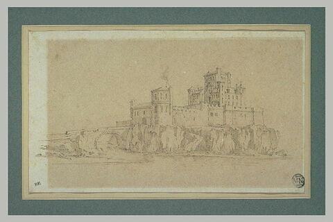 Château fort et ses remparts construits sur un promontoire entouré d'eau