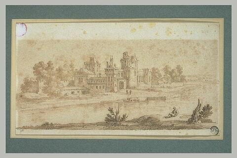 Maisons, château en ruines entourés d'arbres, au bord d'une rivière...
