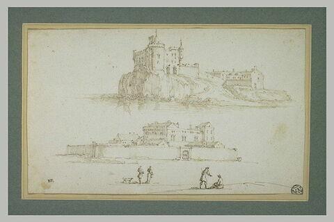 Château sur un promontoire entouré d'eau, château fortifié avec personnages