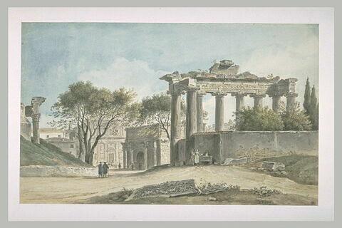 Vue du temple de Saturne et l'arc de Septime Sévère à Rome...
