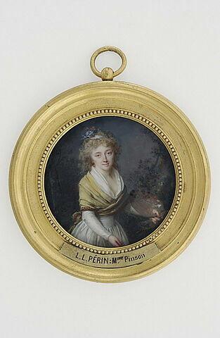 Portrait de Mme Pinson, debout, de face, tenant une palette et des pinceaux.