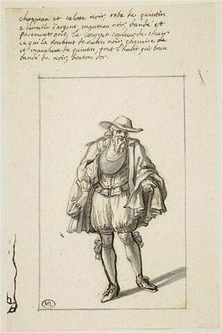 Vieillard vêtu d'une cape courte et coiffé d'un chapeau à large bord