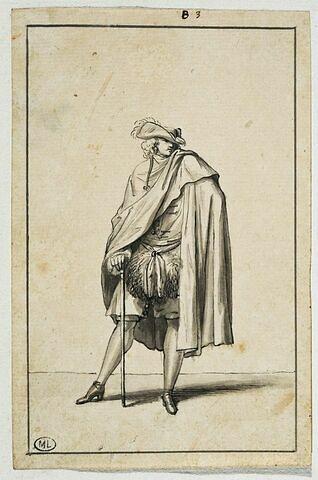 Cavalier en manchon se drapant dans sa cape