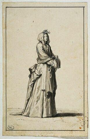 Femme tenant son éventail à la main, une écharpe sur la tête,...