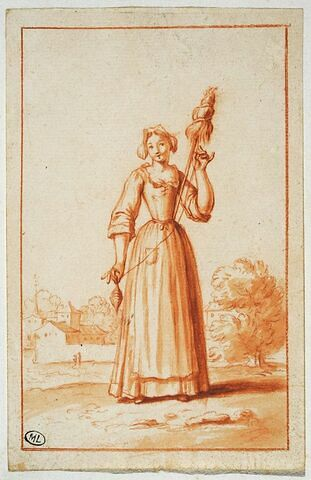 Paysanne filant sa quenouille, sur fond de paysage avec fabrique