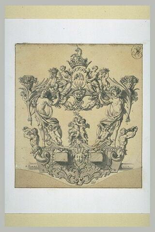 Projet d'un carrosse (vu de l'avant), décoré de deux figures symbolisant...