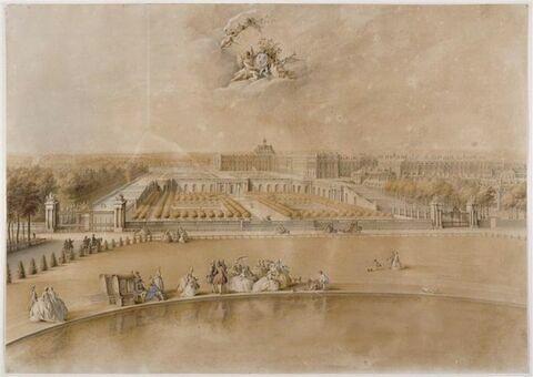 Vue de l'orangerie et du château de Versailles prise de la pièce d'eau des Suisses..