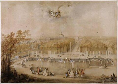 Vue des jardins et du château de Versailles prise du bassin de Neptune