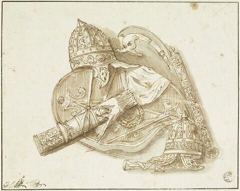 Trophées d'armes : deux casques, un bouclier, un carquois ouvert avec des flèches apparentes, un poignard et un glaive dans leur fourreau, une hampe