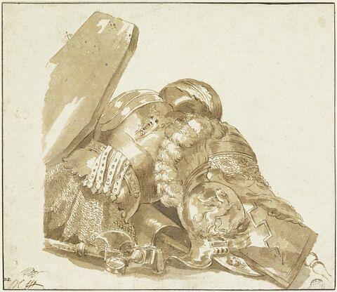 Trophée d'armes : cuirasse ornée d'un masque, casque avec panache et un pégase ailé, bouclier, hache, poignée d'une épée