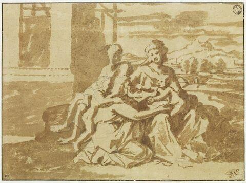 Sainte Famille avec saint Jean et sainte Elisabeth dans un paysage