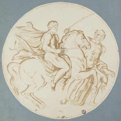 Hercule apprenant l'équitation avec Amphitryon