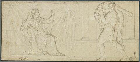 Hercule apportant le lion de Némée à Eurysthée