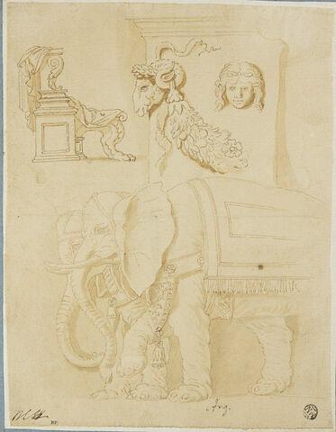 Feuille d'études : siège antique, un autel et deux éléphants