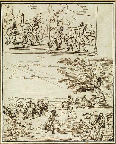 Saint Denis effrayant ses boureaux et deux croquis préparatoires