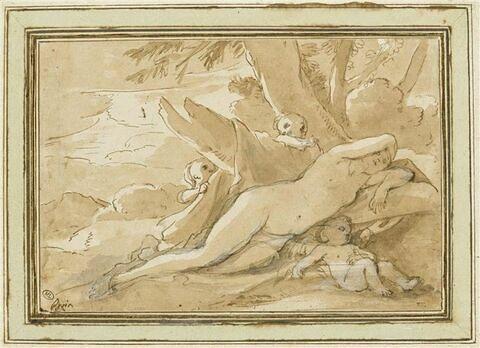 Vénus ou nymphe endormie entourée de trois amours