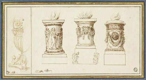 Trois études d'autels et d'un vase antiques