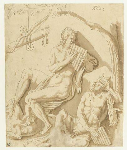 Apollon et Pan ou Apollon donnant à Marsyas une leçon de flute ?