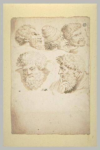 Cinq têtes d'hommes barbus