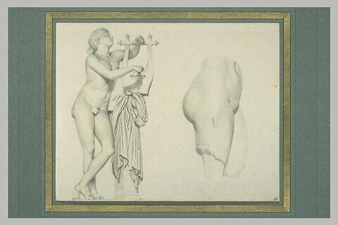 Apollon lycien et fragment de torse féminin antique