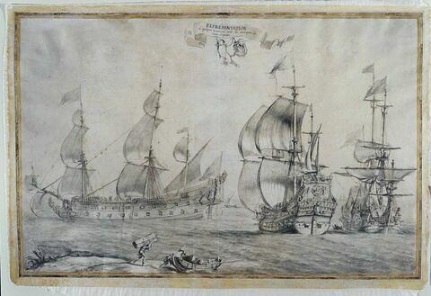 Trois vaisseaux avec les marques de leur dignité