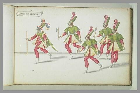 Entrée des 'Piclairs' : cinq figures d'hommes