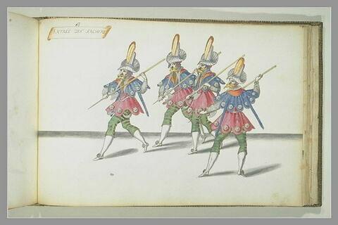 Entrée des archers, quatre figures