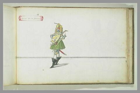 Récit de la guerre, une figure jouant du luth