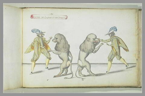 Entrée des laquais et des singes, deux figures et deux singes