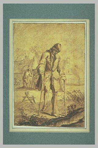 Homme marchant avec une béquille et un bâton