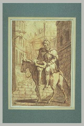 Mendiant avec une jambe de bois assis sur un âne, dans une ville