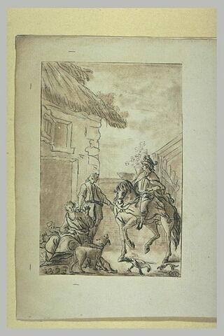 Un chevalier monté sur un cheval arrivant devant une chaumière