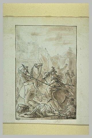 Soldats et cavaliers combattant devat un camp