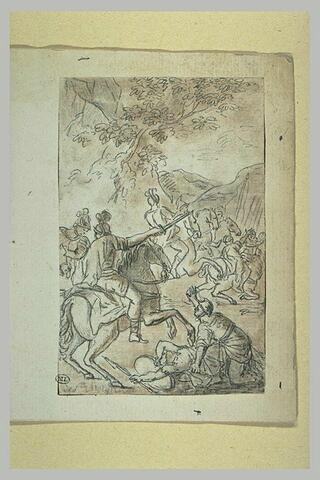 Soldats et cavaliers combattant