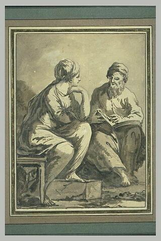 Deux figures assises lisant