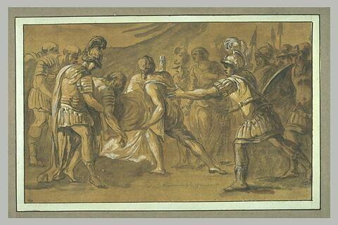 Des soldats apportant à Achille le corps de Patrocle