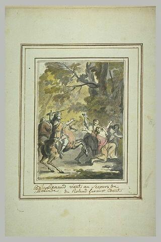 Un chevalier secourant une femme prisonnière de deux hommes