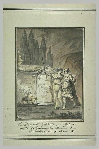 Bradamante, conduite par Melisse, visite le tombeau Merlin