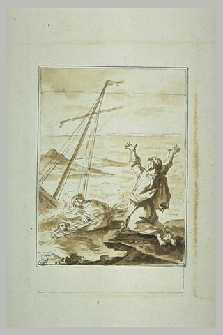 Scène de naufrage avec deux hommes et un chien