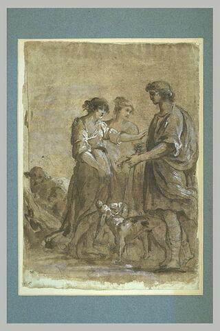 Un homme avec deux chiens rencontrant deux bergères